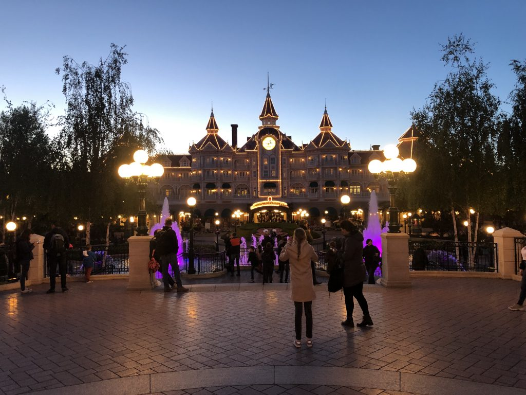 Paris Disney Hotel at night